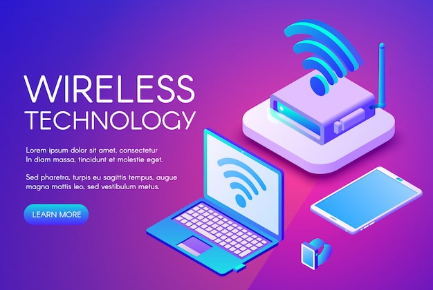 Wireless technology illustration of internet data transfer in digital devices. Free Vector