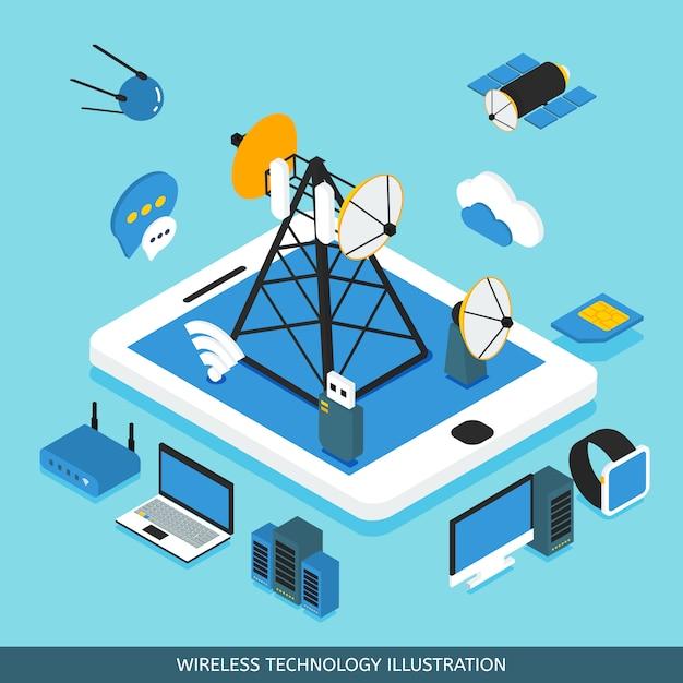Wireless technology isometric design Free Vector