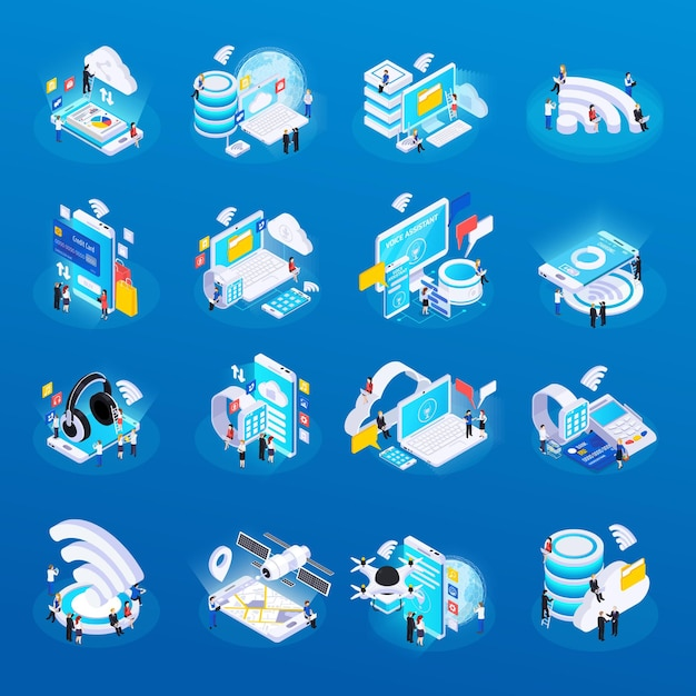 Wireless technology isometric glow icons set with cloud safe data storage access remote health monitoring Free Vector