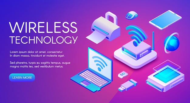 Wireless technology isometric illustration of wi-fi, bluetooth or nfc connection Free Vector