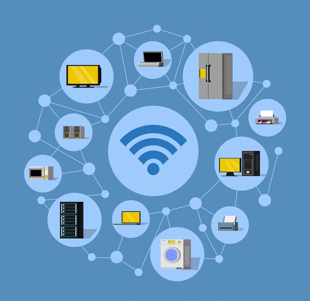 Wireless technology round composition Free Vector