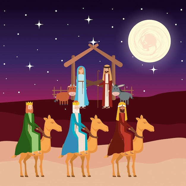 Wise kings in camels manger characters Premium Vector