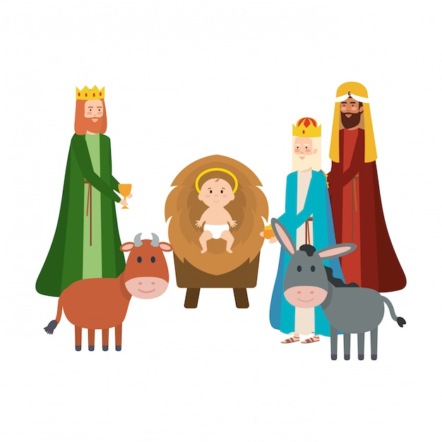 Wise kings and jesus baby characters Premium Vector