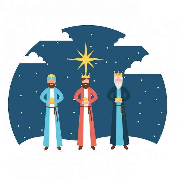 Wise men king epiphany in the night Premium Vector