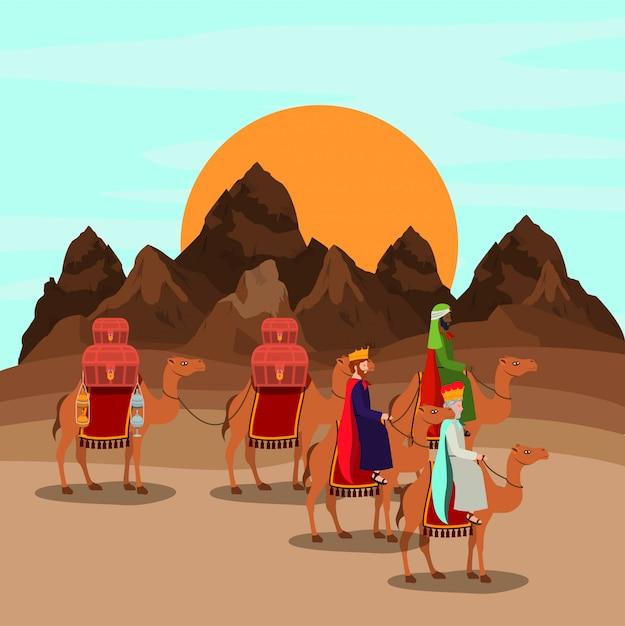 Wise men traveling in the desert christmas scene Premium Vector