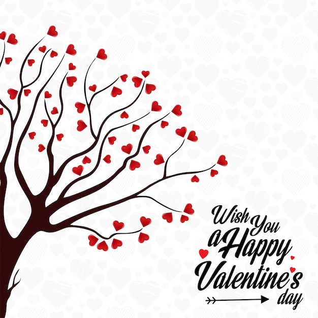 Wish You A Happy Valentine S Day Heart Tree Background Vector Free