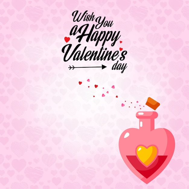 Wish You A Happy Valentineu0027s Day With Pink Pattern Background ...   Valentine  Wish