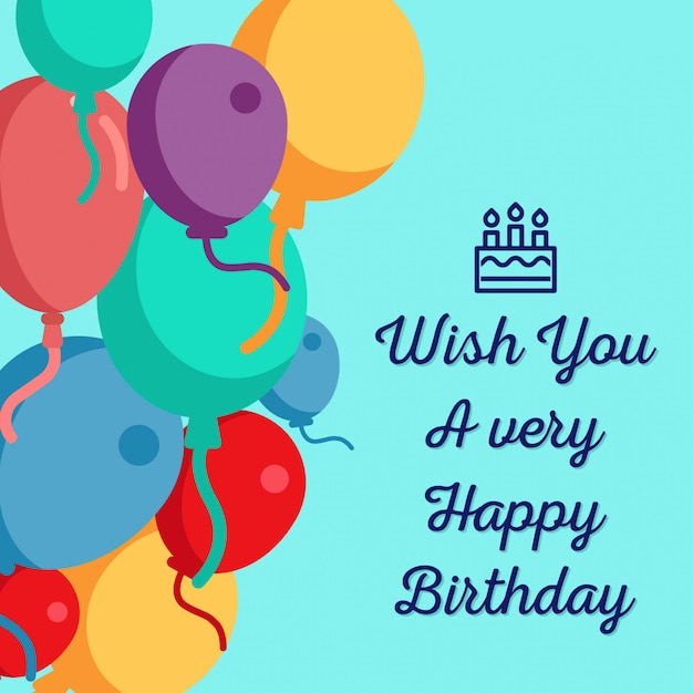 Wish You A Very Happy Birthday Background Design Vector Premium
