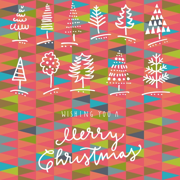 Wishing You A Merry Christmas hand drawn greeting card