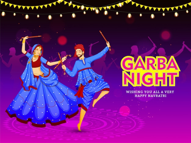 Wishing you all a very happy navratri festival card or poster design Premium Vector