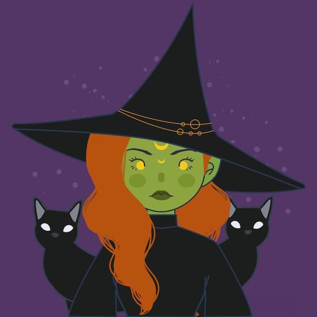 마녀 아바타. 모자와 고양이 일러스트와 함께 귀여운 녹색 마녀입니다. 프리미엄 벡터