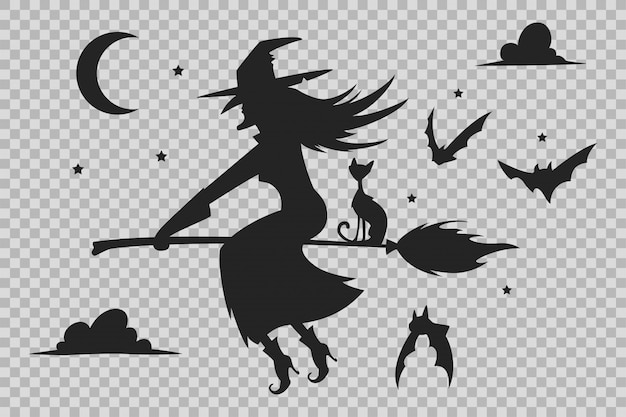 Witch on a broom, black cat and bats silhouette. halloween silhouettes isolated Premium Vector