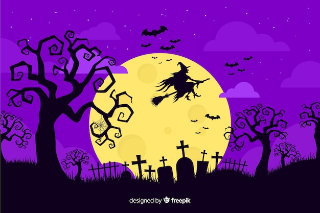 Witch on broom on a full moon night Free Vector