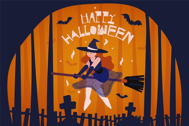 Witch on broom halloween background Free Vector