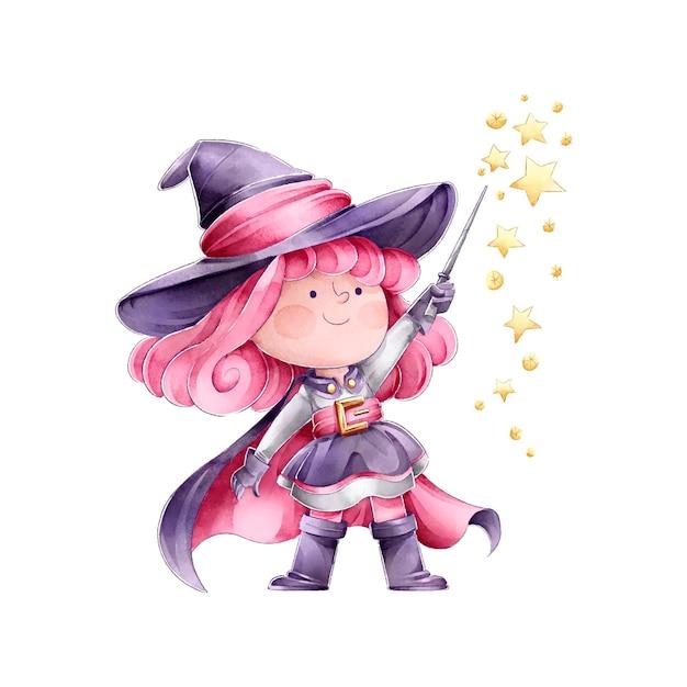 Strega che lancia un incantesimo felice halloween Vettore gratuito