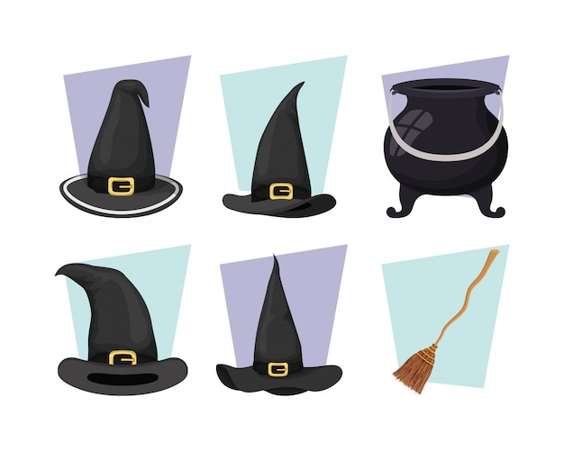 Witch cauldron and hat with broom icons Premium Vector