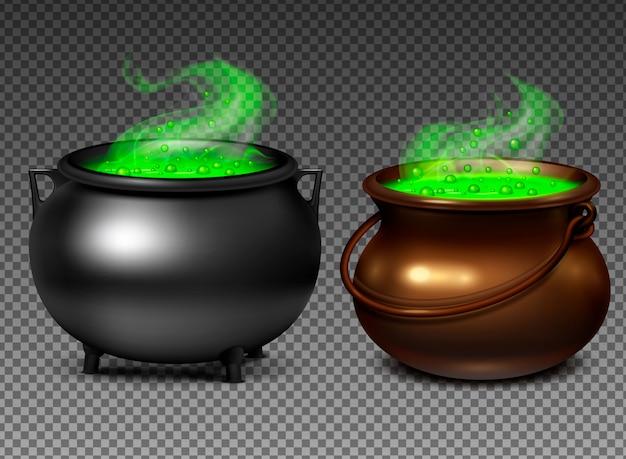 現実的な透明な背景に魔法の緑のポーションと魔女の大釜セット分離の図 無料ベクター