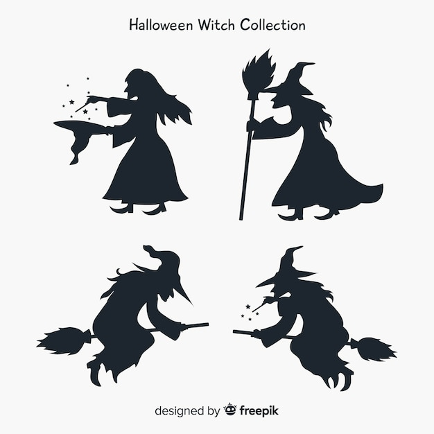 Witch character collection with silhouette style Free Vector