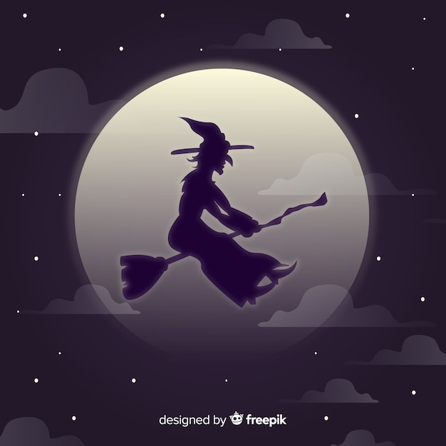 Witch character with silhouette style Free Vector