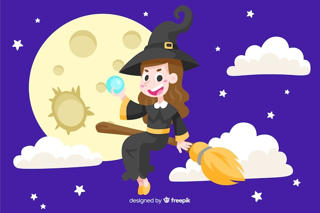 Witch between clouds halloween background Free Vector