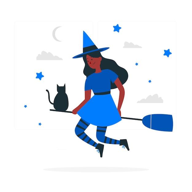 Иллюстрация концепции ведьмы Бесплатные векторы