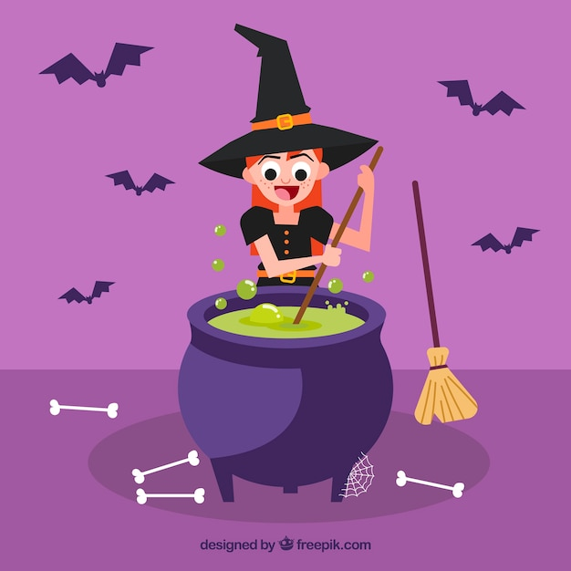 Witch cooking with a magic pot