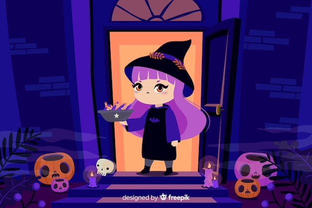 Witch in front of a house halloween background Free Vector