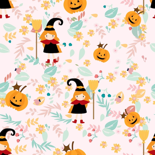 Witch girl on flower seamless pastel pattern Premium Vector