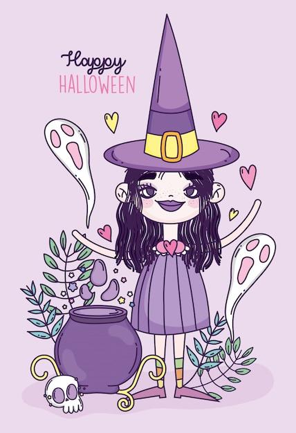 Ведьма девушка угощение или хэллоуин Premium векторы