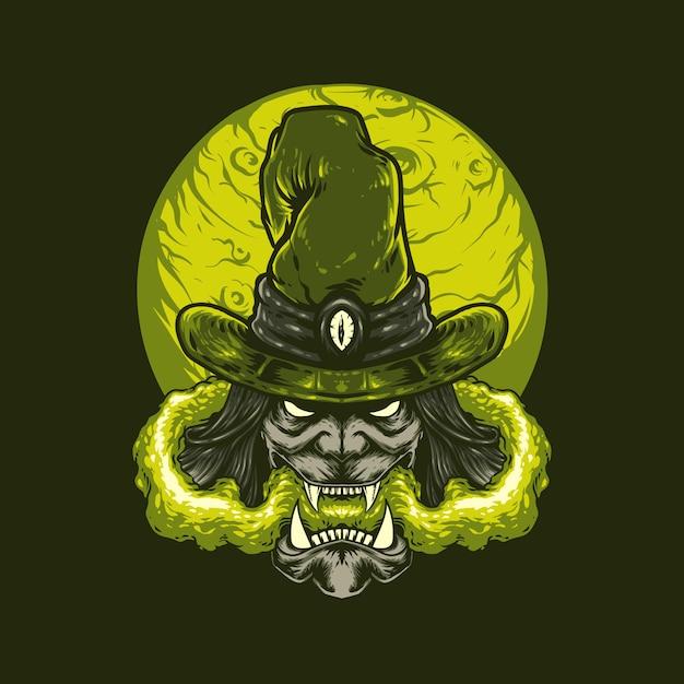 Witch halloween illustration Premium Vector