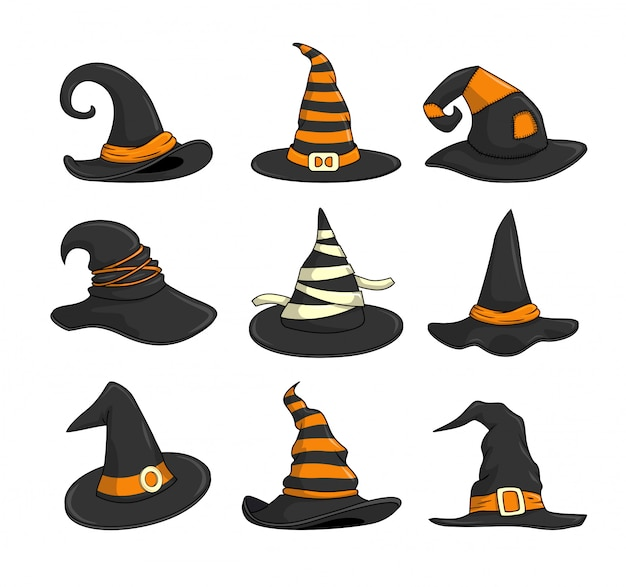 Witch hat halloween cartoon set collections Premium Vector