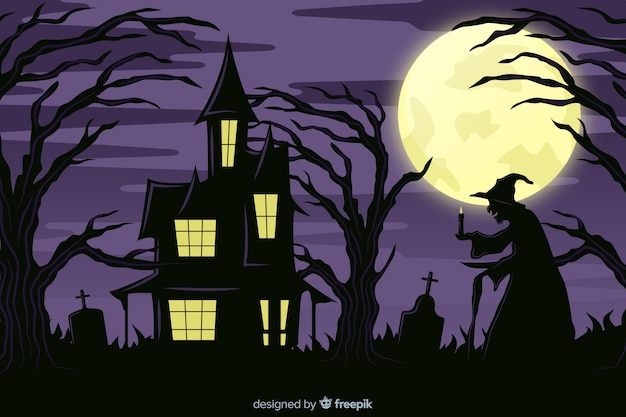 Witch and haunted house on a full moon night background Free Vector