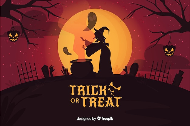 Witch making a spell on full moon background Free Vector