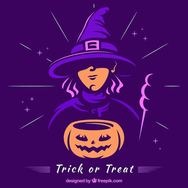 Witch and pumpkin with modern style Free Vector