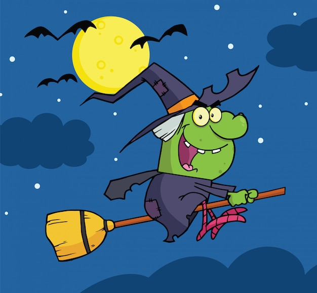 Witch ride a broomstick in the night Premium Vector