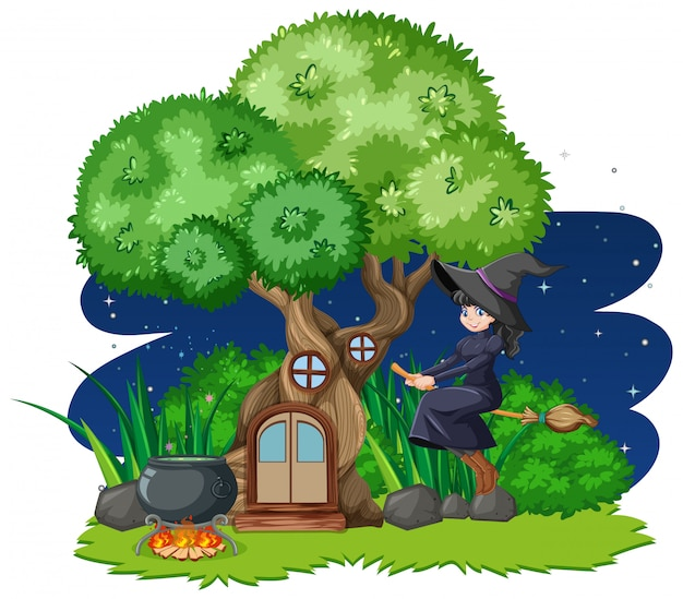 Broomstick di guida della strega accanto a stile del fumetto della casa sull'albero su fondo bianco Vettore gratuito