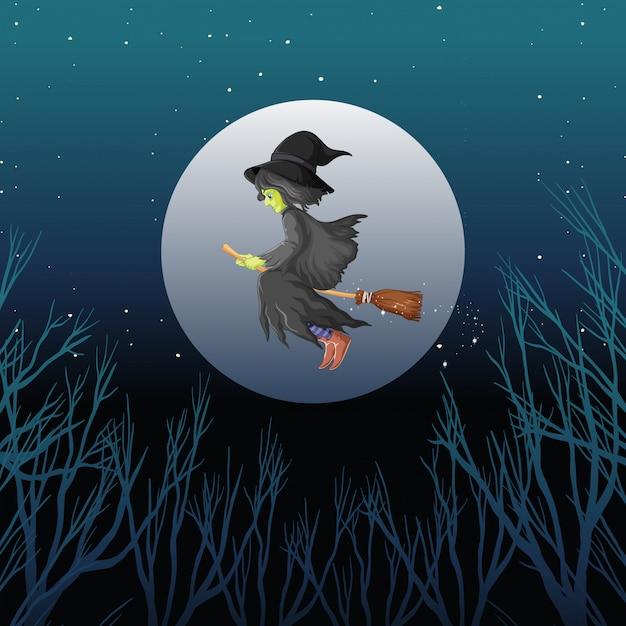 Strega a cavallo scopa stile cartoon su sfondo scuro del cielo Vettore gratuito