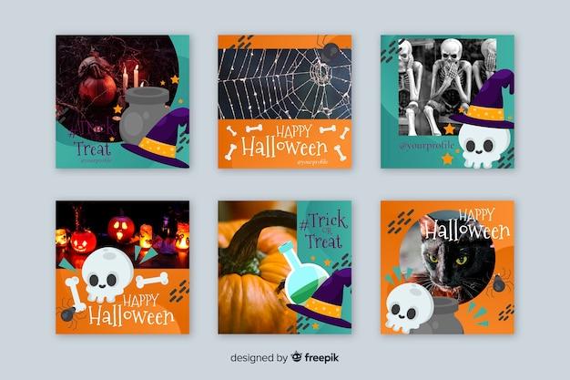 Witch skulls halloween instagram stories collection Free Vector