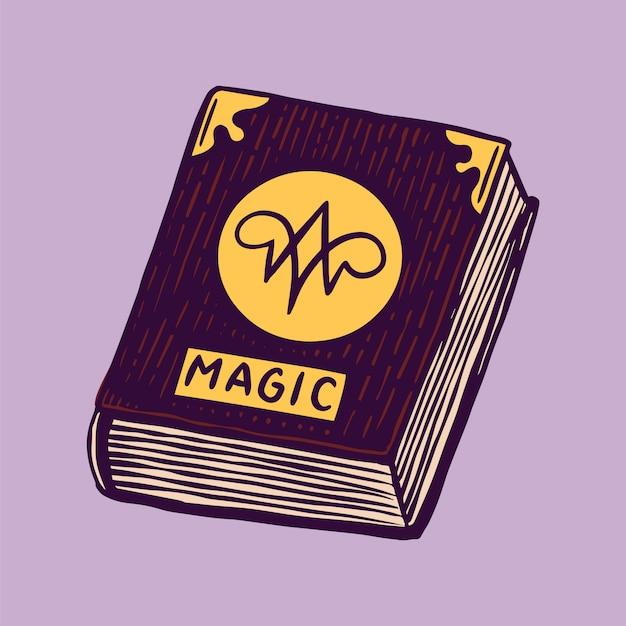 Книга заклинаний ведьмы. рецепты мистической алхимии. символ астрологии. волшебная иллюстрация бохо. ручной обращается гравированный эскиз для татуировки или футболки. Premium векторы