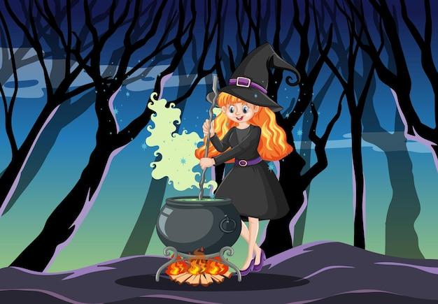 Strega con stile cartone animato pentola magica nera sulla foresta oscura Vettore gratuito