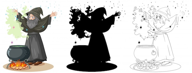 Witch with black magic pot in color and outline and silhouette cartoon character isolated on white background Free Vector