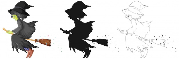 Free Vector Witch With Broomstick In Color And Outline And Silhouette Cartoon Character Isolated