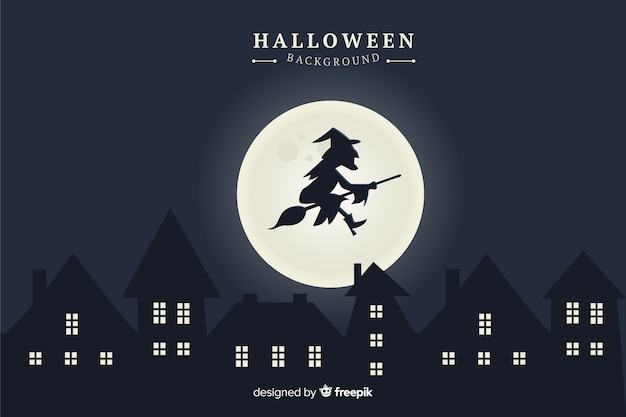 Witch with full moon halloween background Free Vector