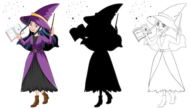 Strega con la bacchetta magica a colori e contorno e silhouette personaggio dei cartoni animati isolato su sfondo bianco Vettore gratuito