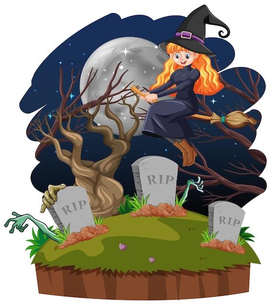 Ведьма с гробницей мультяшном стиле, изолированные на белом фоне Бесплатные векторы