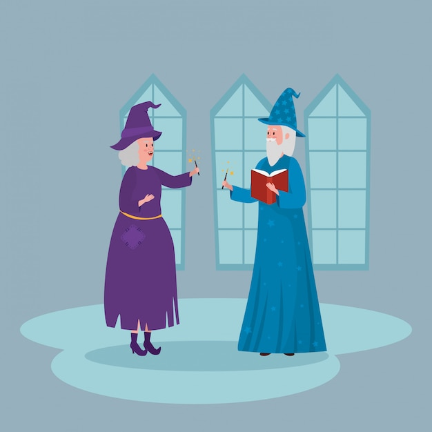Witch with wizard in castle Free Vector