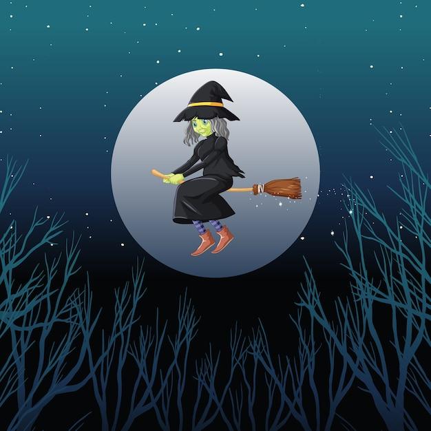 Strega o mago che cavalca manico di scopa il cielo isolato sul cielo Vettore gratuito