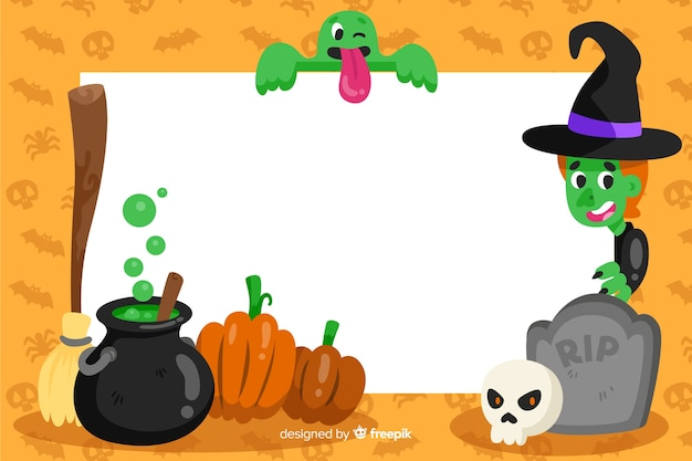 Witchcraft frame of halloween background Free Vector