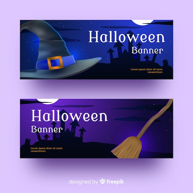 Witchcraft realistic halloween banners Free Vector