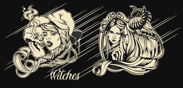 Witches halloween character Premium Vector